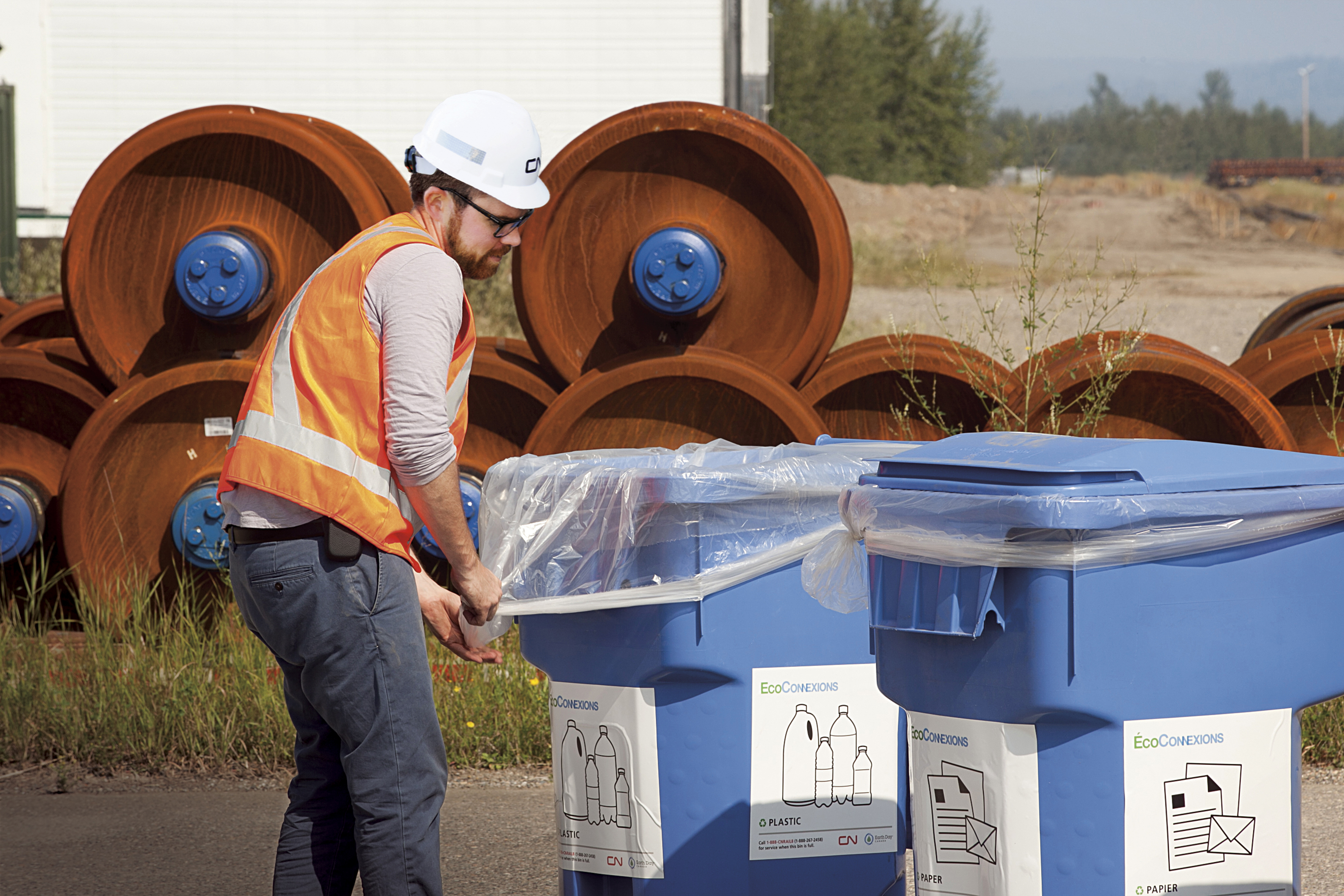 Manager, Waste and Resource Conservation, Reid Bodley oversees the installation of new waste and recycling bins at our yards, and provides training on waste conservation practices.