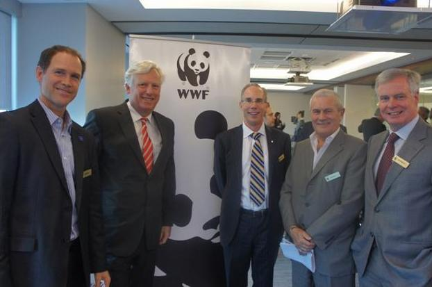 Canadian CEOs led the way in WWF's inaugural Spring Things campaign: (from, left to right) Gordon Hicks, Brookfield Johnson Controls, David Miller, WWF-Canada, Lloyd Bryant, Hewlett-Packard Canada, Paul Mead, FCB Canada Peter Melanson, Bullfrog Power. ©WWF-CANADA